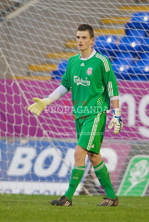 WARRINGTON, ENGLAND - Thursday, April 2, 2009: Liverpool's goalkeeper Martin Hansen in action against Sunderland during the FA Premiership Reserves League (Northern Division) match at the Halliwell Jones Stadium. (Photo by: David Rawcliffe/Propaganda)