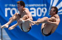 Patrick Hausding and Sascha Klein of Germany at Men's 10m Synchro Platform Final at 13th FINA World Championships Rome 2009, on July 25 2009, at Foro Italico, Rome, Italy. (Photo by Vid Ponikvar / Sportida)