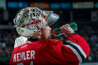 KELOWNA, CANADA - APRIL 14: Cole Kehler #31 of the Portland Winterhawks takes a drink during a time out against the Kelowna Rockets on April 14, 2017 at Prospera Place in Kelowna, British Columbia, Canada.  (Photo by Marissa Baecker/Shoot the Breeze)  *** Local Caption ***