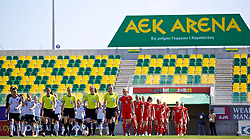 LARNACA, CYPRUS - Wednesday, March 7, 2018: Wales and Austria players walk out before the Cyprus Women's Cup match between Austria and Wales on day nine of the Cyprus Cup tournament at the AEK Arena - Georgios Karapatakis. (Pic by David Rawcliffe/Propaganda)