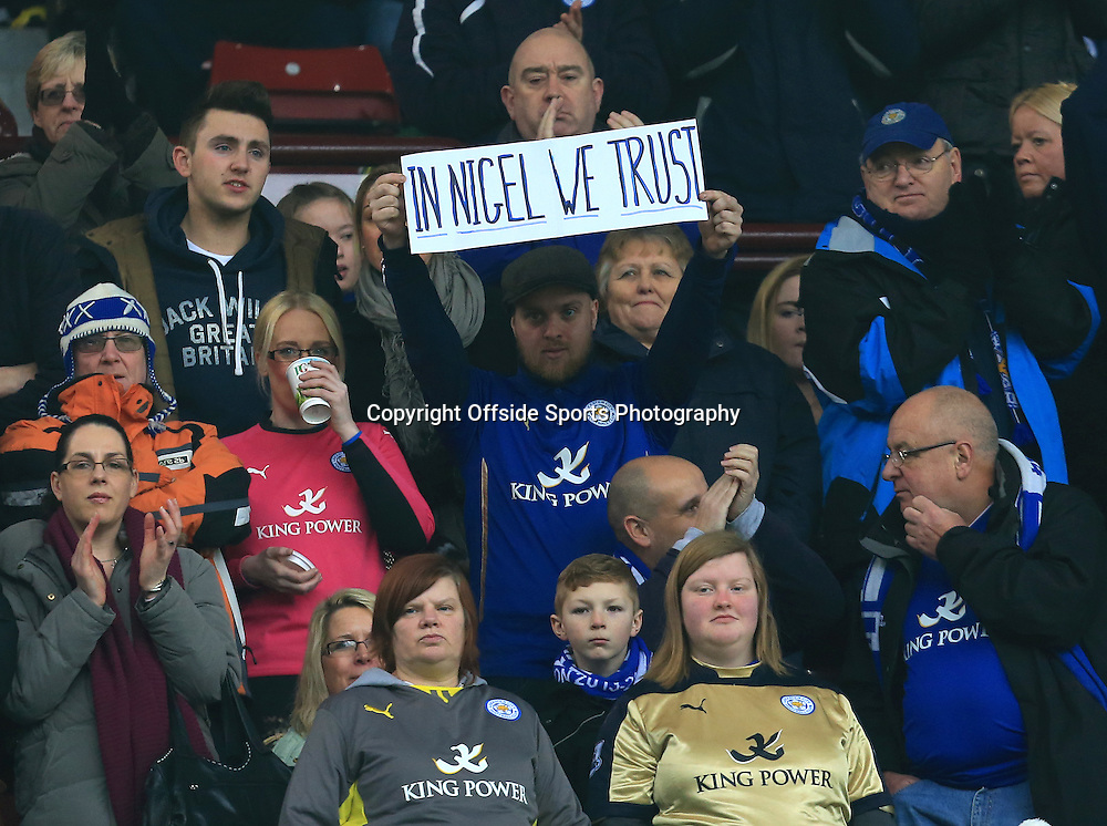 15th February 2015 - FA Cup 5th Round - Aston Villa v Leicester City - Supporters give their backing to Leicester manager Nigel Pearson - Photo: Paul Roberts / Offside.