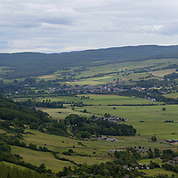 The toen of Aberfeldy in Perthshire viewed from the hills above Dull<br />