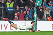 Twickenham, Surrey. UK. Danny CARE, diving in for a late second half try, during the  England VS Australia, Autumn International. Old Mutual Wealth Series. RFU Stadium, Twickenham. UK<br /> <br /> Saturday  18.11.17<br /> <br /> [Mandatory Credit Peter SPURRIER/Intersport Images]