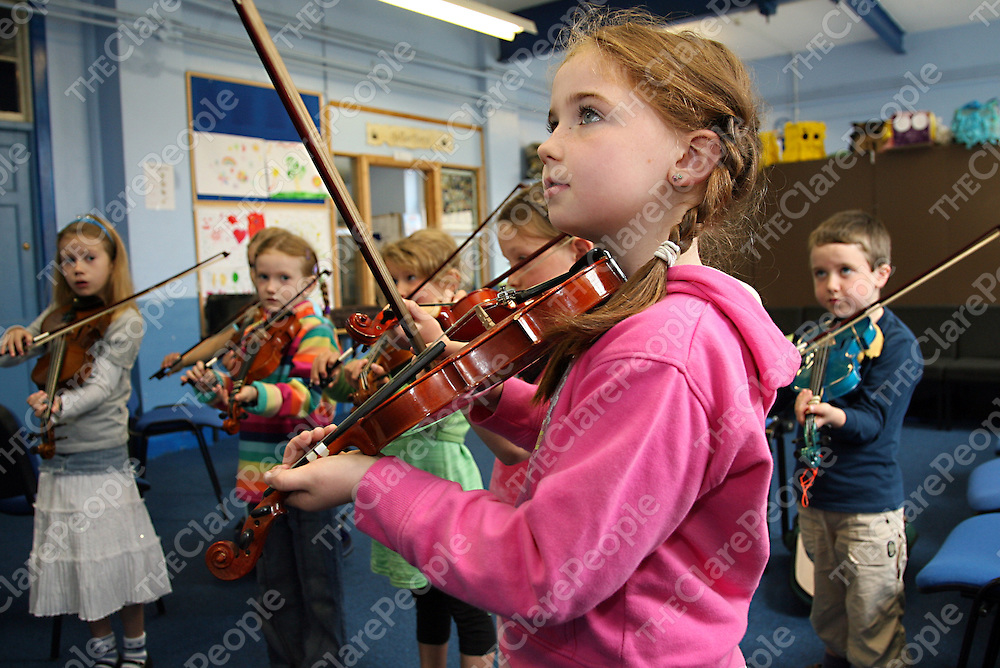 Emily Grogan taking part in the beginners fiddle class at the Eigse Mrs. Crotty traditional music festival in Kilrush during the week.<br />