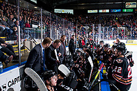 KELOWNA, BC - FEBRUARY 17: The Calgary Hitmen call a time out against the Kelowna Rockets at Prospera Place on February 17, 2020 in Kelowna, Canada. (Photo by Marissa Baecker/Shoot the Breeze)