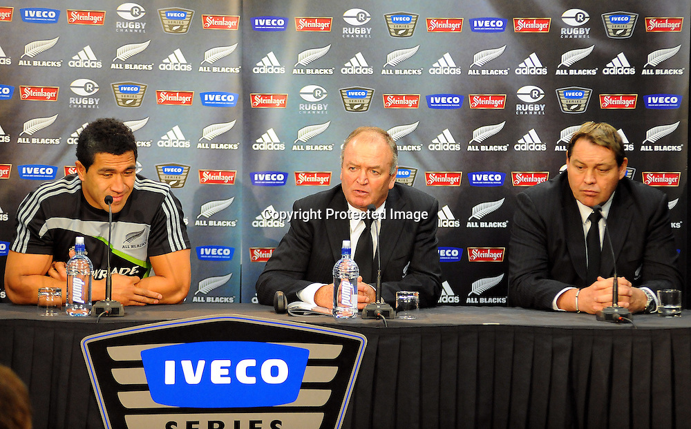 All Black coach Graham Henry  and Steven Hansen and Mils Muliaina during  talk to the media after the Test Match between the All Blacks v Italy. Iveco Test Series, Jade Stadium, Wellington, New Zealand. Saturday 27 June 2009. Photo:PHOTOSPORT