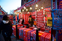 LIVERPOOL, ENGLAND - Saturday, December 29, 2018: A street vendor selling Liverpool scarves before the FA Premier League match between Liverpool FC and Arsenal FC at Anfield. (Pic by David Rawcliffe/Propaganda)