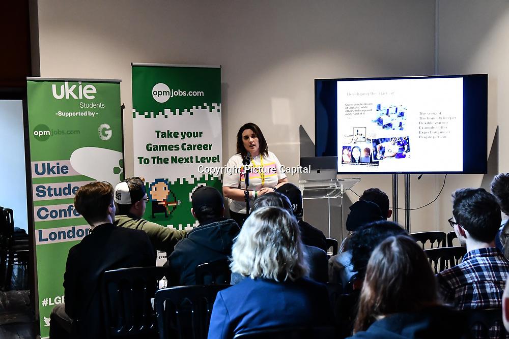 Speaker Jemma Harris, senior Producer - Supermissive Games  at London Games Festival 2019: HUB at Somerset House at Strand, London, UK. on 2nd April 2019.
