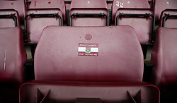 A sticker is left on a seat at Sixfields Stadium home of Northampton Town - Mandatory by-line: Robbie Stephenson/JMP - 07/10/2017 - FOOTBALL - Sixfields Stadium - Northampton, England - Northampton Town v Bristol Rovers - Sky Bet League One