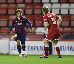FC Barcelona's Cristina Baudet faces Bristol Academy Womens' Grace McCatty - Photo mandatory by-line: Paul Knight/JMP - Mobile: 07966 386802 - 13/11/2014 - SPORT - Football - Bristol - Ashton Gate Stadium - Bristol Academy v FC Barcelona - UEFA Women's Champions League