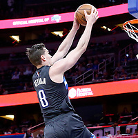 25 February 2017: Orlando Magic guard Mario Hezonja (8) goes for the dunk during the Orlando Magic 105-86 victory over the Atlanta Hawks, at the Amway Center, Orlando, Florida, USA.
