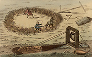 Threshing corn using a horse pulling a sledge. Using an ox to raise buckets of water from a well. Mid-19th century coloured engraving.
