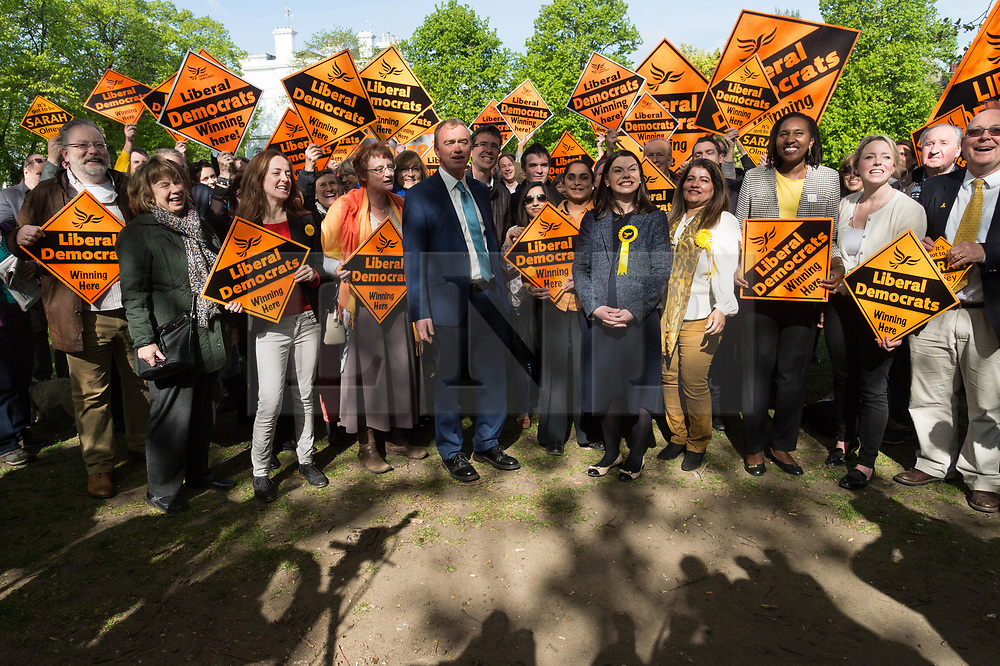 © Licensed to London News Pictures. 19/04/2017. London, UK. Liberal Democrat leader TIM FARROW and Liberal Democrat MP SARAJ OLNEY with supporters at a rally in Richmond in response the announcement of the General Election on June 8th 2017. Photo credit: Ray Tang/LNP