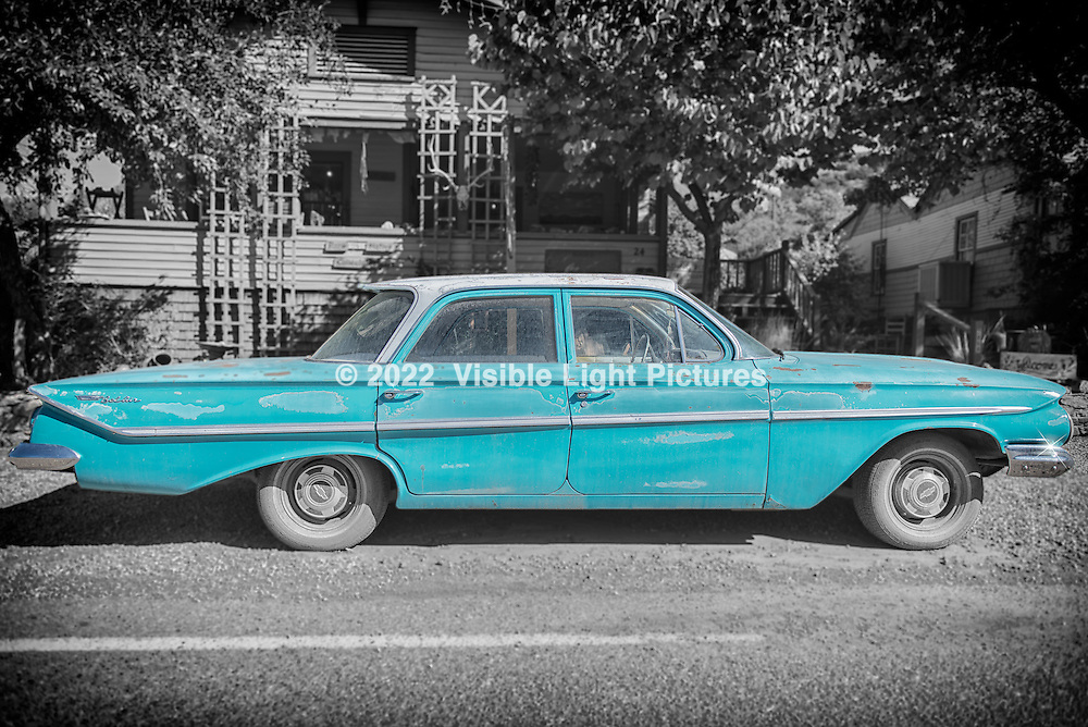 I found this 1961 Chevy Bel Air parked along the main drag in Madrid, New Mexico.  A turquoise car on the turquoise trail!