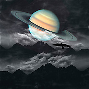 Surreal night landscape with planet Saturn<br /> Society6 products: http://bit.ly/2mzCGdG<br /> Redbubble prints: http://rdbl.co/2mA8UFB