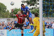 AFC Wimbledon striker Tyrone Barnett (23) in action during the EFL Sky Bet League 1 match between AFC Wimbledon and Shrewsbury Town at the Cherry Red Records Stadium, Kingston, England on 24 September 2016. Photo by Stuart Butcher.