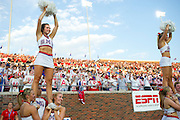 DALLAS, TX - AUGUST 30: SMU cheerleaders look on before kickoff between the SMU Mustangs and the Texas Tech Red Raiders on August 30, 2013 at Gerald J. Ford Stadium in Dallas, Texas.  (Photo by Cooper Neill/Getty Images) *** Local Caption ***