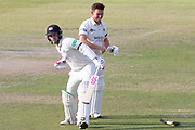 Ryan Higgins & Gareth Roderick celebrate a win for Gloucestershire during the Specsavers County Champ Div 2 match between Gloucestershire County Cricket Club and Leicestershire County Cricket Club at the Cheltenham College Ground, Cheltenham, United Kingdom on 18 July 2019.