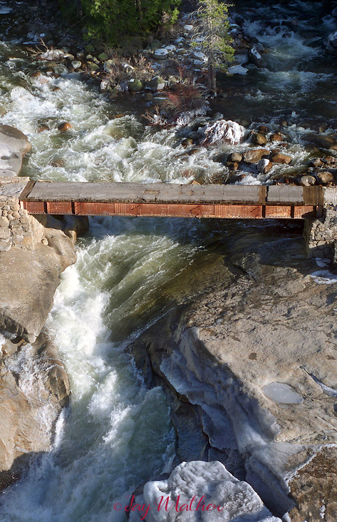 The bridge over the Merced River above Nevada Falls is nearly washed out after the 1997 flood.