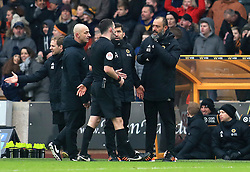 Wolverhampton Wanderers manager Nuno Espirito Santo (right) is sent to the stands during the Premier League match at Molineux, Wolverhampton.