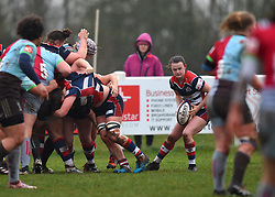 Cat McNaney of Bristol Ladies passes the scrum ball - Mandatory by-line: Paul Knight/JMP - 03/02/2018 - RUGBY - Cleve RFC - Bristol, England - Bristol Ladies v Harlequins Ladies - Tyrrells Premier 15s