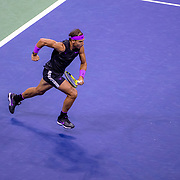 2019 US Open Tennis Tournament- Day Twelve. Rafael Nadal of Spain in action against Matteo Berrettini of Italy in the Men's Singles Semi-Finals match on Arthur Ashe Stadium during the 2019 US Open Tennis Tournament at the USTA Billie Jean King National Tennis Center on September 6th, 2019 in Flushing, Queens, New York City.  (Photo by Tim Clayton/Corbis via Getty Images)
