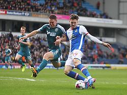 Sam Gallagher of Blackburn Rovers (R) has a shot at goal - Mandatory by-line: Jack Phillips/JMP - 04/03/2017 - FOOTBALL - Ewood Park - Blackburn, England - Blackburn Rovers v Wigan Athletic - Football League Championship