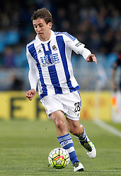 09.04.2016, Estadio de Anoeta, San Sebastian, ESP, Primera Division, Real Sociedad vs FC Barcelona, 32. Runde, im Bild Real Sociedad's Mikel Oiarzabal // during the Spanish Primera Division 32th round match between Real Sociedad and FC Barcelona at the Estadio de Anoeta in San Sebastian, Spain on 2016/04/09. EXPA Pictures © 2016, PhotoCredit: EXPA/ Alterphotos/ Acero<br /> <br /> *****ATTENTION - OUT of ESP, SUI*****