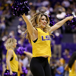 Jan 16, 2016; Baton Rouge, LA, USA; A member of the LSU Tigers Tiger Girls alumni performs during the second half of a game against the Arkansas Razorbacks at the Pete Maravich Assembly Center. LSU defeated Arkansas 76-74. Mandatory Credit: Derick E. Hingle-USA TODAY Sports