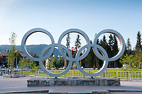 The Olympic rings are a lasting sculpture in Whistler Village, seen here in the summer of 2011 before Olympic Plaza has opened.
