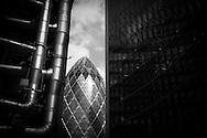 London. UK. Swiss Re Tower and Lloyds building  , in the city financial district of london / la tour Swiss Re par l architecte anglais Norman foster et la tour des assurances loyds architectes Rogers  , dans le quartier financier de la city