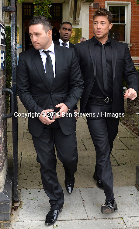 Lee Ryan's boy band friend's Anthony Costa, Simon Webb and Duncan James leave Ealing Magistrates Court, London, UK, where bandmate Lee Ryan is charged with drink driving after a night out in London.<br /> Friday, 2nd May 2014. Picture by Ben Stevens / i-Images