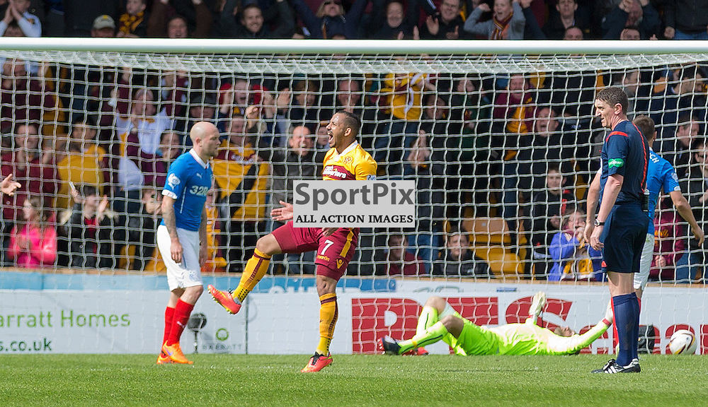 Motherwell v Rangers Scottish Premiership play-off final second leg 31 May 2015; Lionel Ainsworth (Motherwell, 7) celebrates his goal during the Motherwell v Rangers Scottish Premiership play-off final second leg match played at Fir Park Stadium, Motherwell;