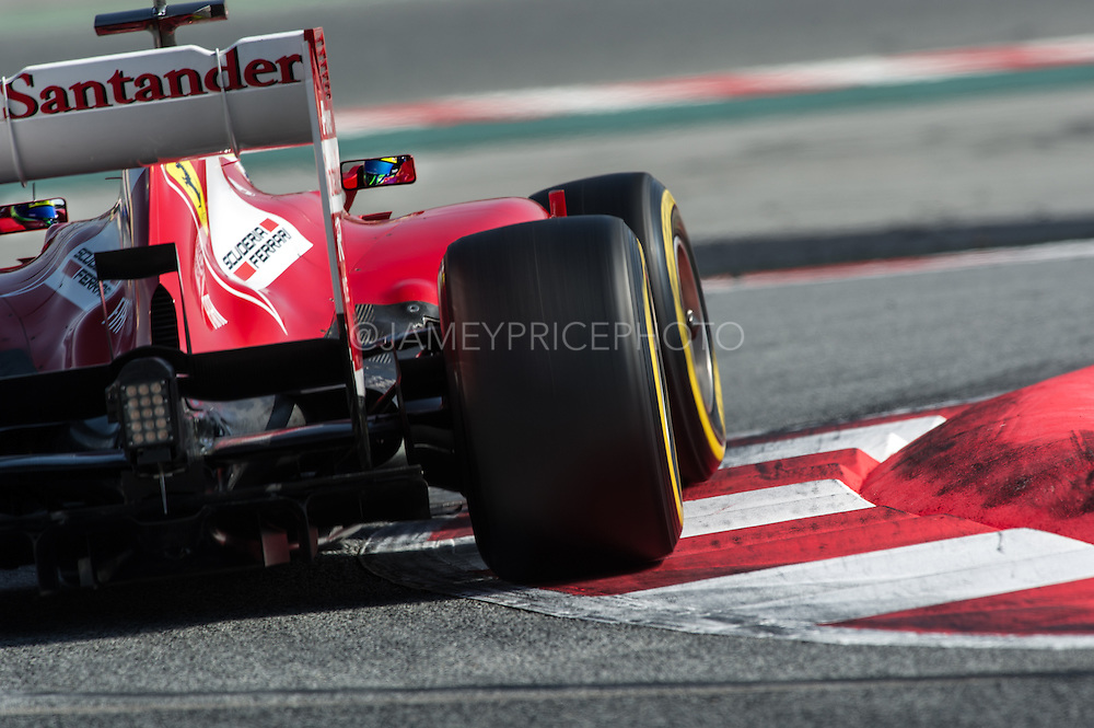 In what would be his final season as an Ferrari driver, Felipe Massa puts in valuable laps for the struggling Scuderia during Barcelona pre-season testing during February 2013.
