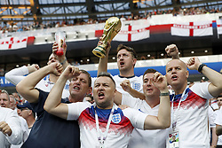 england fans with the World Cup during the 2018 FIFA World Cup Russia Semi Final match between Croatia and England at the Luzhniki Stadium on July 01, 2018 in Moscow, Russia