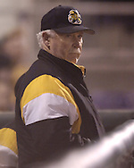 Wichita State head coach Gene Stephenson looks out onto the field from the Shockers dugout in the third inning against Kansas State.  K-State defeated the 19th ranked Shockers 6-3 at Tointon Stadium in Manhattan, Kansas, March 14, 2006.