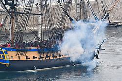 April 25, 2018 - Nice, France - Pour la premiere fois, la fregate l'Hermione fait escale a Nice (Credit Image: © Panoramic via ZUMA Press)
