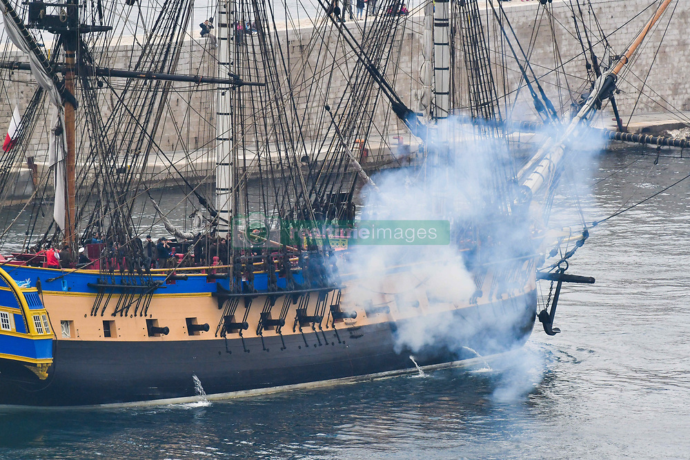 April 25, 2018 - Nice, France - Pour la premiere fois, la fregate l'Hermione fait escale a Nice (Credit Image: © Panoramic via ZUMA Press)