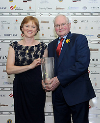 Anne Corcoran from the Plaza Hotel presenting Martin Curry with his Westport Lions club Clew Bay People of the Year Award.<br /> Pic Conor McKeown