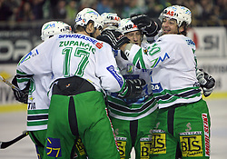 Players of Olimpija (at right Tomaz Vnuk and scorer Brendan Yarema) celebrating the second goal at ice hockey match ZM Olimpija vs Liwest Linz in sixth round of semi-final of Ebel League (Erste Bank Eishockey Liga),  on March  9, 2008 in Arena Tivoli, Ljubljana, Slovenia. Win of ZM Olimpija 2:0, ZM Olimpija qualified in finals. (Photo by Vid Ponikvar / Sportal Images)