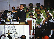 Jesse Jackson campaigns during his 1984 bid for President of the United States. On November 3, 1983, Jackson announced his campaign for President of the United States in the 1984 election,becoming the second African American to mount a nationwide campaign for president.<br />