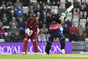 Jason Roy of England plays and attacking shot during the One Day International match between England and West Indies at the Ageas Bowl, Southampton, United Kingdom on 29 September 2017. Photo by Graham Hunt.