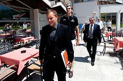 Matej Avanzo of KZS, Erazem Lorbek and Roman Volcic, president of KZS prior to the press conference of Slovenian National Basketball team during training camp in Kranjska Gora, on July 12, 2011, in Hotel Larix, Kranjska Gora, Slovenia. (Photo by Vid Ponikvar / Sportida)