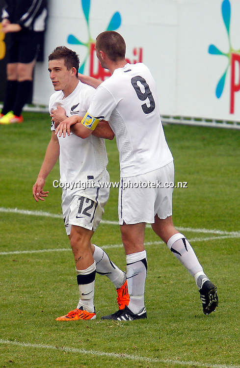 More subdued celebrations from NZ as Louis Fenton (left) celebrates his goal with Greg Draper. OFC Men's Olympic Qualifier New Zealand 2012, Tonga v New Zealand, Owen Delany Park Taupo, Wednesday 21st March. Photo: Shane Wenzlick