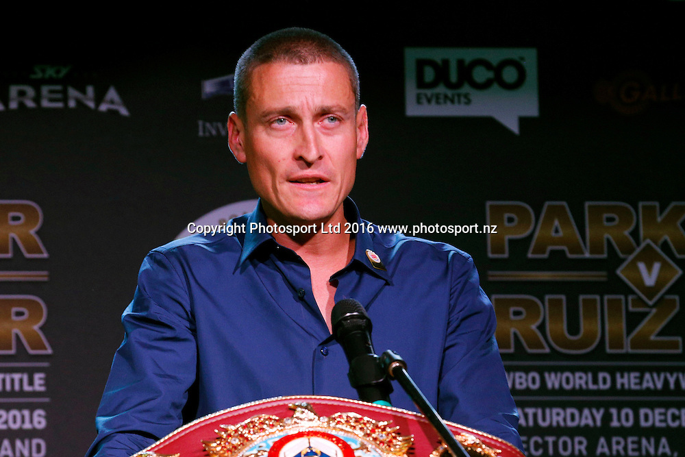 David Higgins of Duco, Final press conference before the December 10, Parker v Ruiz, WBO world boxing heavyweight title fight. Rec Bar, Auckland. 8 December 2016 / www.photosport.nz