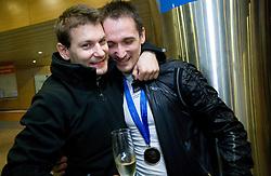 Mitja Petkovsek and Saso Bertoncelj at reception of third placed Saso Bertoncelj at European Championships in artistic gymnastics in Birmingham 2010, on April 26, 2010, at Airport Joze Pucnik, Brnik, Slovenia. (Photo by Vid Ponikvar / Sportida)