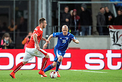 30.05.2014, Tivoli Stadion, Innsbruck, AUT, Fussball Testspiel, Oesterreich vs Island, im Bild (v.l.) // Marko Arnautovic (AUT) (L) in action against Emil Hallfredsson (ISL) ( R ) during the International Friendly between Austria and Iceland at the Tivoli Stadion in Innsbruck, Austria on 2014/05/30. EXPA Pictures © 2014, PhotoCredit: EXPA/ Johann Groder