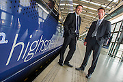 The CEO and FD of Go-Ahead group pose with one of their fleet of High Speed trains at St Pancras Station - Guy Bell Photography, GBPhotos.com
