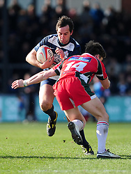 Bristol Full Back (#15) John Goodridge is tackled by Plymouth Albion Winger (#14) Lewis Warner - Photo mandatory by-line: Dougie Allward/JMP - Tel: Mobile: 07966 386802 31/03/2013 - SPORT - RUGBY - Memorial Stadium - Bristol. Bristol v Plymouth Albion - RFU Championship.