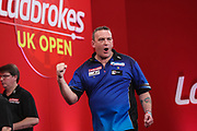 Mark McGeeney hits a double and celebrates during the Ladrokes UK Open 2019 at Butlins Minehead, Minehead, United Kingdom on 1 March 2019.